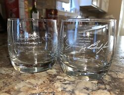 2 Jack Daniels Master Distiller Whiskey Glass Jimmy Bedford Lowball Rocks Etched