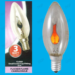 50x 3w Clear Flicker Flame Candle Light Bulb Ses E14 Small Screw Decorative Lamp
