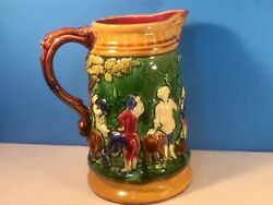 Antique French Majolica Pitcher 'the Toast' C.1800's, Fabulous Colors