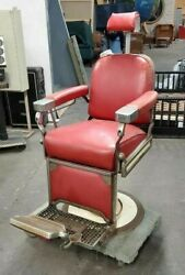 Antique Theo-a-kochs Red Vinyl Barber's Chair Vintage Made In Chicago Usa