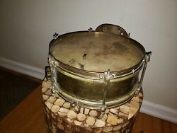 Rare Beautiful Vintage Brass Snare Drum Marching Band Musical Instrument
