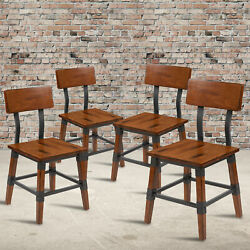 4 Pack Commercial Grade Rustic Antique Industrial Style Wood Dining Chair