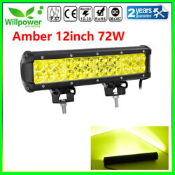 Amber 12inch 72w Led Work Light Bar For Off Road Jeep Suv Car Driving Fog Lamp