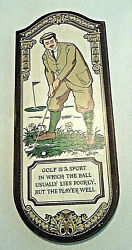 1968 Yorkraft Golf..lie..player 23 X 9.25 Painted Colorful Art Wood Wall Sign