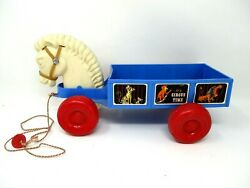 Vintage Pull Toy Circus Time Horse And Wagon