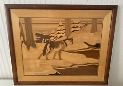 """Vintage Hudson River Inlay - Wolves In Winter - Nelson - Wood Inlayed 31"""" X 25"""""""