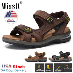 Mens Leather Fisherman Sandals Walking Shoes Hiking Casual Beach Opened Toe Air