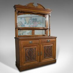 Large Antique Sideboard English Oak Mirror Cabinet Arts And Crafts Victorian