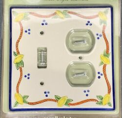 Vintage Lemon Ceramic Switch And Outlet Combo Wall Plate Atlas Homewares Lot Of 3