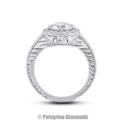 0.90ct G-si3 Round Natural Diamonds Platinum Vintage Style Side-stone Ring