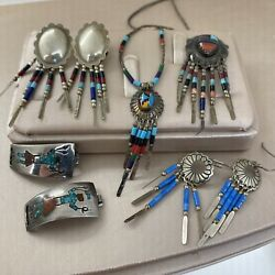 Vintage Zuni Native American Sterling Silver Turquoise Pendant Earring Lot