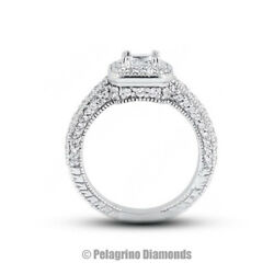 1 3/4ct H Vs2 Radiant Natural Certified Diamonds 14kw Gold Halo Sidestone Ring