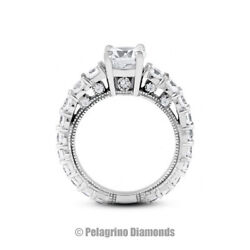2 1/2ct I Si1 Round Natural Diamonds 18kw Gold Vintage Style Sidestone Ring