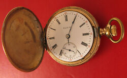 Antique Elgin Hunter Pocket Watch Gold Filled Not Working For Parts Or Repair
