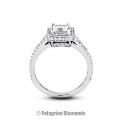 1.33ct D-si1 Princess Natural Certified Diamonds 14kw Gold Halo Side-stone Ring