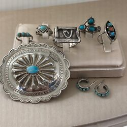 Vintage Native American Sterling Silver Turquoise Ring Concho Pin Earring Lot