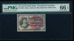 Ac Fr 1259 0.10 1869 Fractional Fourth Issue Pmg 66 Epq Lg Red Seal Blue End
