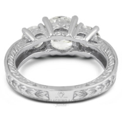1 1/2ct F Vs2 Round Natural Diamonds 14kw Gold Vintage Style Engagement Ring