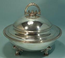 Antique Sterling Silver And Co. Large Footed Serving Dish Jc Moore C. 1868