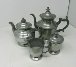 4 Piece Woodbury Pewter Coffee And Tea Service Set - Henry Ford Museum