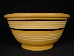 """Very Rare 1800s 10"""" Jeffords Pottery 10 White And Mocha Band Bowl Yellow Ware Mint"""