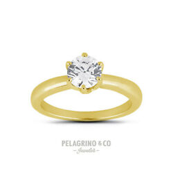 3/4ct F Vs2 Round Natural Diamond 14ky Gold Classic Solitaire Engagement Ring