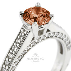 1 1/2ct Red Si1 Round Natural Certified Diamonds 14k Classic Side-stone Ring