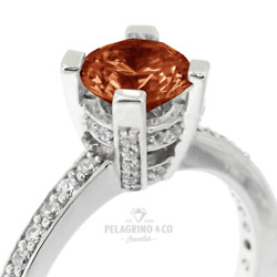1 1/2ct Red Vs1 Round Natural Certified Diamonds 14k Gold Classic Sidestone Ring