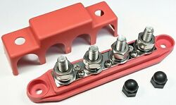 4 Post Busbar Bus Bar Power Distribution Block 12v 250a With Cover 3/8 Red