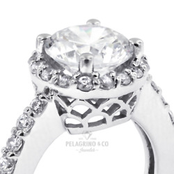 1 1/4ct I Si1 Round Natural Certified Diamonds 18kw Gold Halo Side-stone Ring