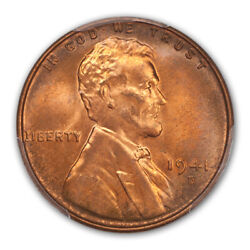 1941-d 1c Lincoln Cent - Type 1 Wheat Reverse Pcgs Ms67+rd Cac