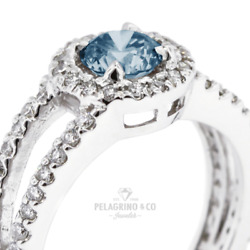 1.81ct Blue Si1 Round Earth Mined Certified Diamonds Plat Halo Side-stone Ring