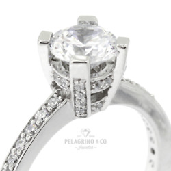1.11ct D-vs1 Round Natural Certified Diamonds Platinum Classic Side-stone Ring