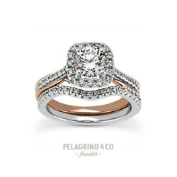 1 3/4ct H Si1 Round Natural Certified Diamonds Plat Halo Ring With Wedding Band