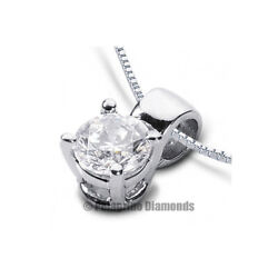 1ct D Si2 Round Earth Mined Certified Diamond Platinum Classic Solitaire Pendant
