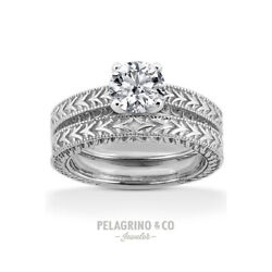 1 1/4ct E Si3 Round Natural Diamond 14k Vintage Style Ring With Wedding Band