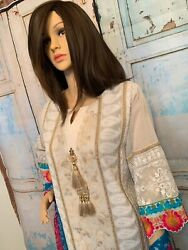 White Embroided Summer Pakistani/indian Dress 3pc Suit Semi Formal And Formal