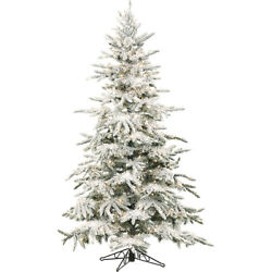 Fraser Hill Farm 7.5 Ft. Flocked Mountain Pine With Clear Led String Lighting -