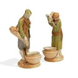 Large Royal Worcester Hadley C1890 Water Bearers Man And Woman 12 Tall