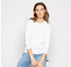 Luxe Lord And Taylor Supersoft New 100 Cashmere White Crew Jumper Sweater Bnwt Lg