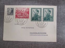 93 East Germany Ddr Cover To Mainz Mao Tse Tung 2x82-83 Stamp Fdc Stockholm