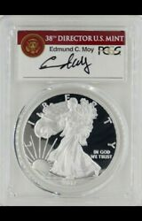 2017-w Proof 1 American Silver Eagle Ngc Pf70 First Strike Signed By Edmond Moy