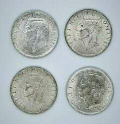 Lot Of Four -4- Silver Coins Of 500 Lei, Romania 1944,king Mihai, 70 Silver.
