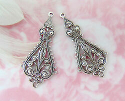 Antique Silver 2 Pieces Small Boho Earring Drops Filigree Stamping E-784
