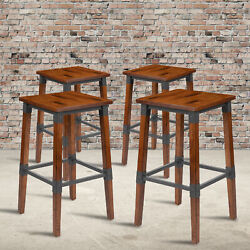 4 Pack Rustic Antique Industrial Wood Dining Backless Barstool