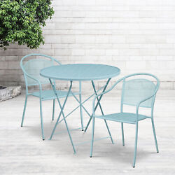 Commercial Grade 30 Round Metal Folding Patio Table Set W/ 2 Round Back Chairs