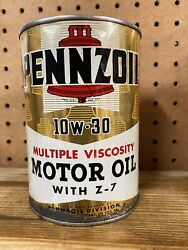 Vintage Pennzoil Motor Oil Can 1 Qt - Gas And Oil Empty