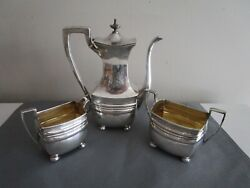 Dominick And Haff 1900and039s Art Deco Coffee Pot Creamer Sugar Sterling Silver 1238