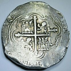 1500and039s Mexico Silver 8 Reales Philip Ii Antique Spanish Colonial Pirate Cob Coin