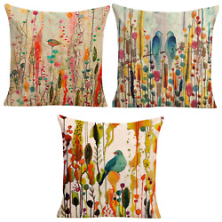 3pce Set Of Blue Bird Colourful Forest Cushions 45cm Japanese Inspired Bundle